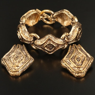 Vintage Guy Laroche Bracelet and Clip-On Earrings Set
