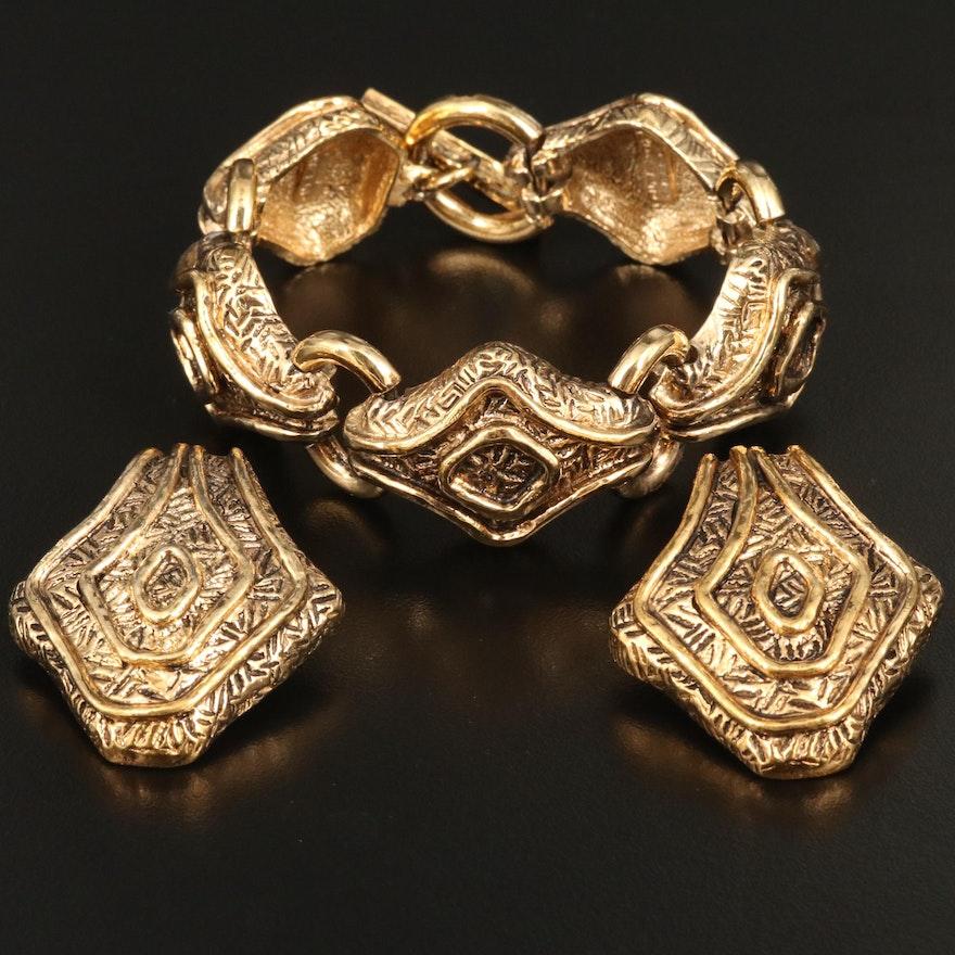 Vintage Guy Laroche Bracelet and Clip-On Earrings Set