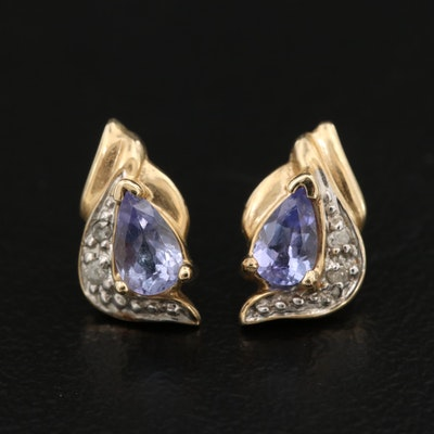 10K Tanzanite and Diamond Earrings With 14K Posts
