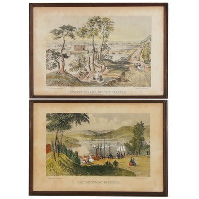 Hand-Colored Collotypes after Currier & Ives New York Scenes, Early 20th Century