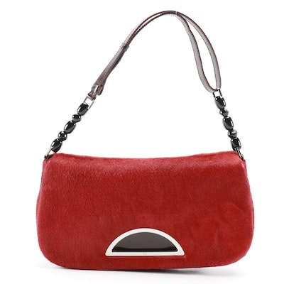 Christian Dior Malice Baguette in Dyed Red Calf Hair with Beaded Leather Strap