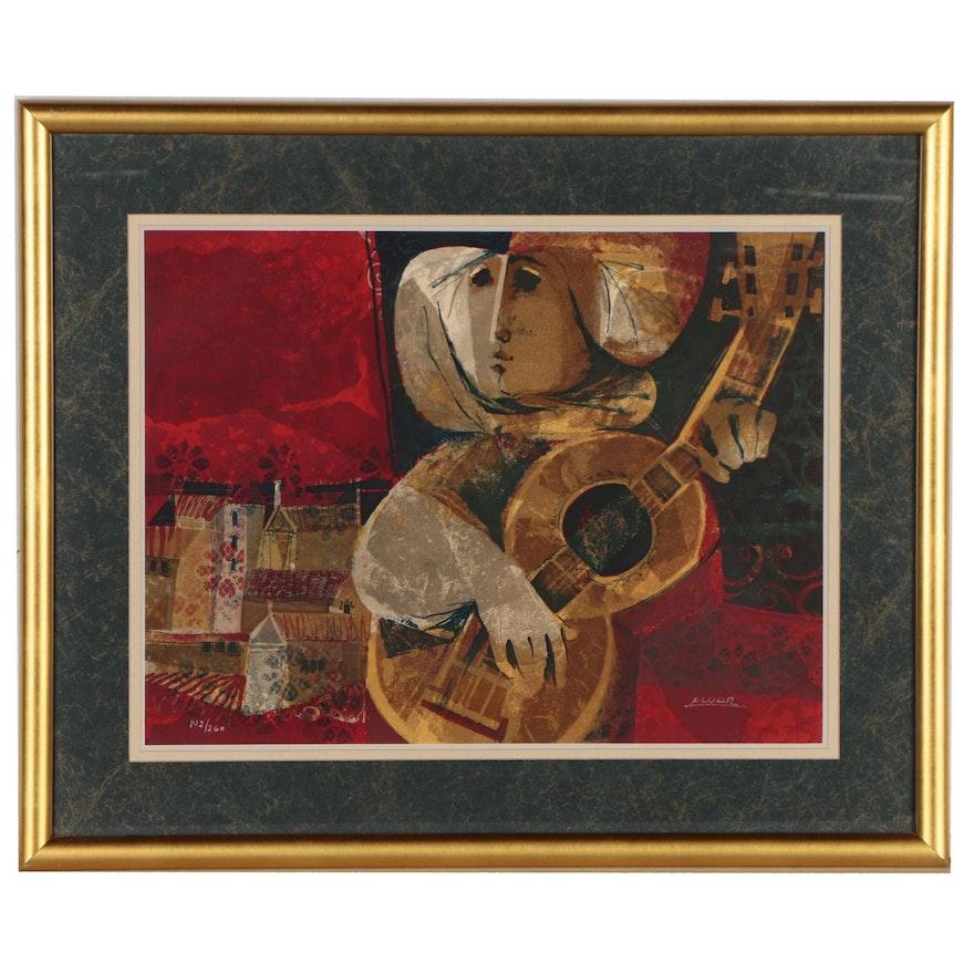 Àlvar Suñol Munoz-Ramos Lithograph of a Musician