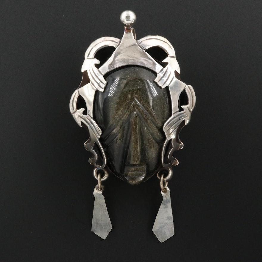 Mexican Sterling Sheen Obsidian Figural Converter Brooch