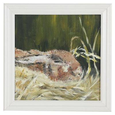 "Chantal Bourdon Acrylic Painting ""Rabbit"", 21st Century"