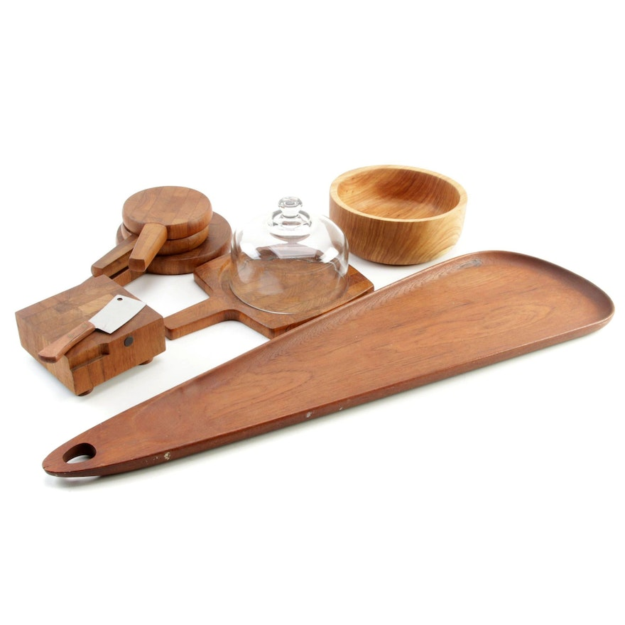 Danish Wooden Cheese Boards, Platter and Bowl