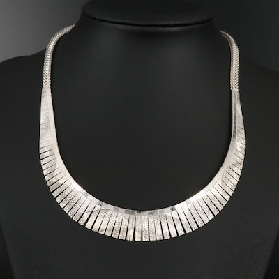 Sterling Silver Graduated Fringe Necklace Featuring Textured Spiral Pattern