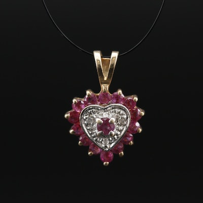 10K Ruby and Diamond Heart Pendant