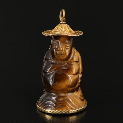 Asian Style Carved Tiger's Eye Figural Pendant with 14K Gold Accents