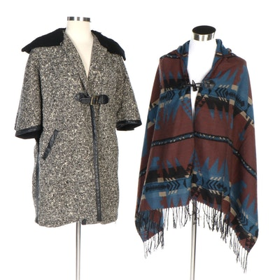 Mr. Gerald Leather-Trimmed Coat and Other Southwestern Style Hooded Cape