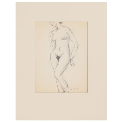 Edgar Yaegar Figural Charcoal Drawing, Mid 20th Century