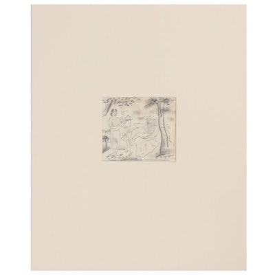 Edgar Yaeger Figural Charcoal and Graphite Drawing, Mid-20th Century