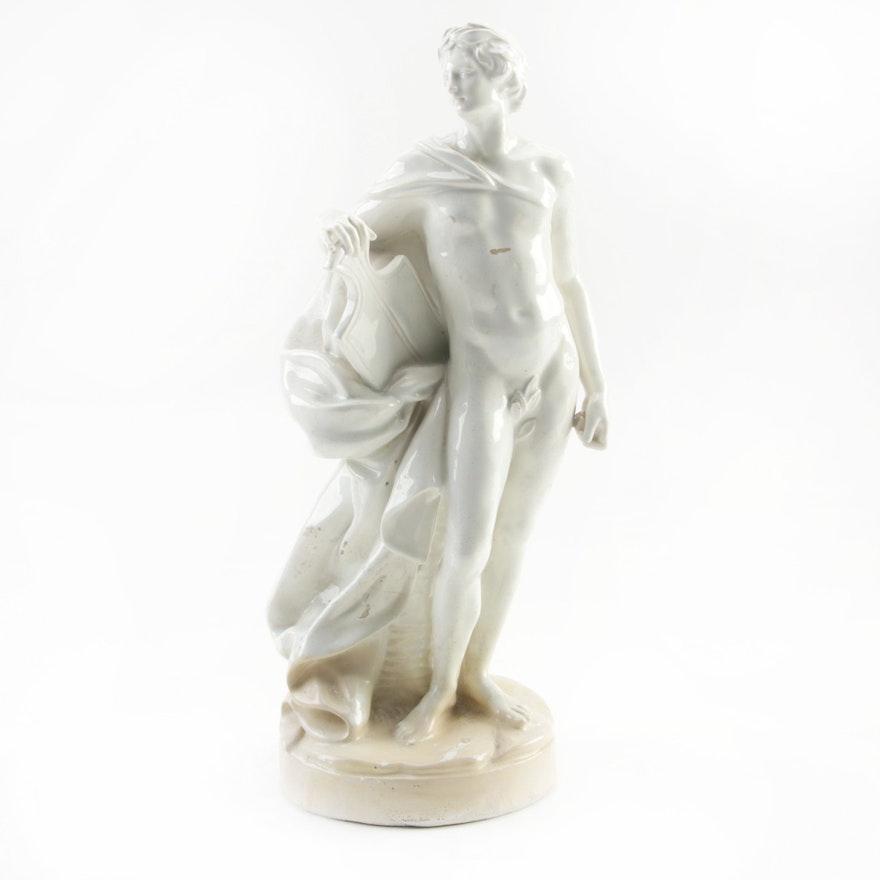 Neoclassical Greco-Roman Warrior Holding Shield Ceramic Statue, Mid-20th Century