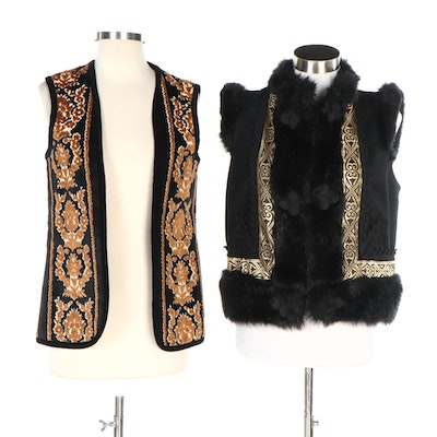 Victor Costa and Robert Allan Faux Fur and Tapestry Vests