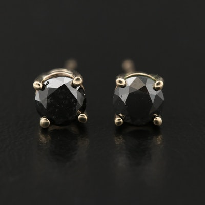 14K Gold Black Diamond Stud Earrings