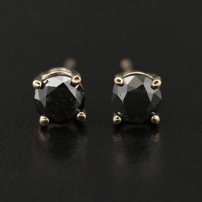 14K Gold Black Diamond Stud Earrings