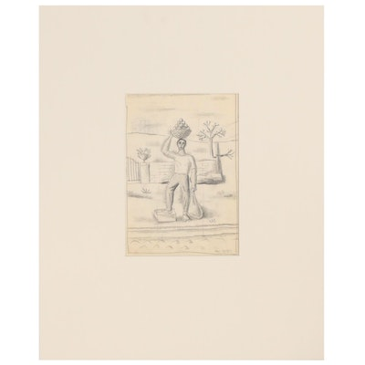 Edgar Yaeger Figural Graphite Drawing, Mid-20th Century