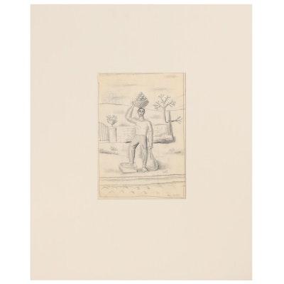 Edgar Yaeger Figural Graphite Drawing, Mid-20th Century