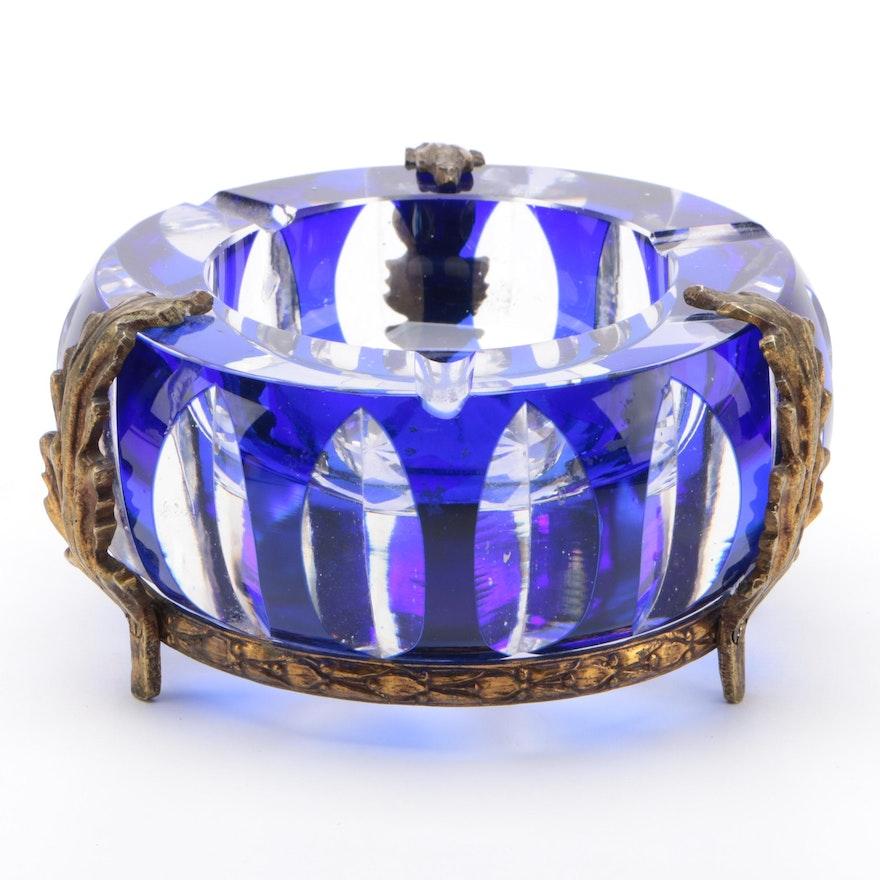 Gilt Ormolu Mounted Cobalt Cut to Clear Glass Ashtray