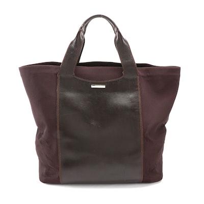 Gucci Tote Bag in Dark Mahogany Brown Nylon Canvas with Tonal Leather Trim