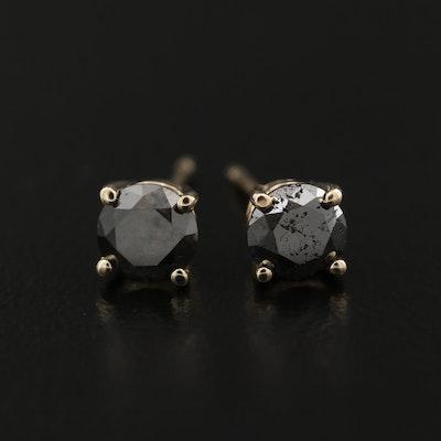 14K 0.85 CTW Black Diamond Stud Earrings