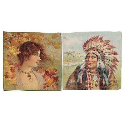 Chromolithograph Portraits on Cotton Pillow Tops, circa 1905