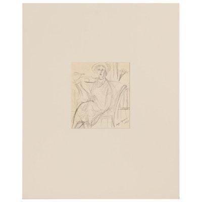 Edgar Yaegar Figural Graphite Drawing, 1927