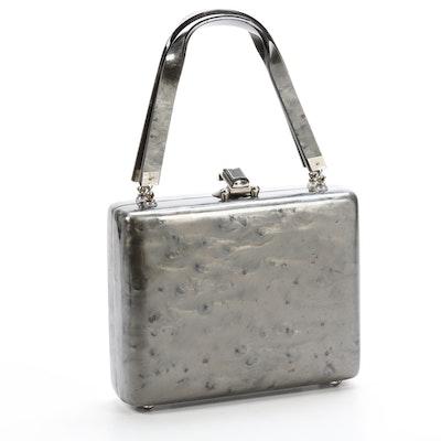 Marbleized Gray Lucite Handbag, 1950s Vintage