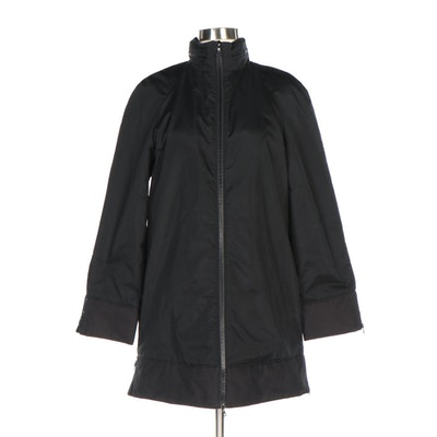 Miu Miu Black Nylon Microfiber Lined Zip Front Jacket