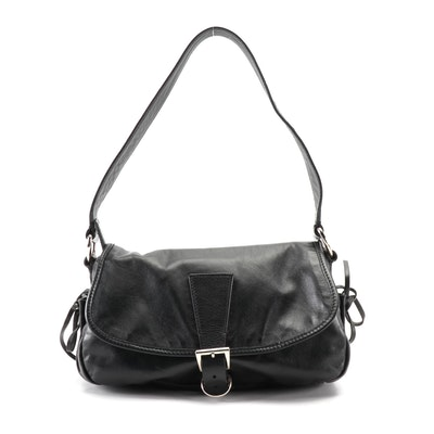 Prada Bow Soft Shoulder Bag in Black Nappa Leather