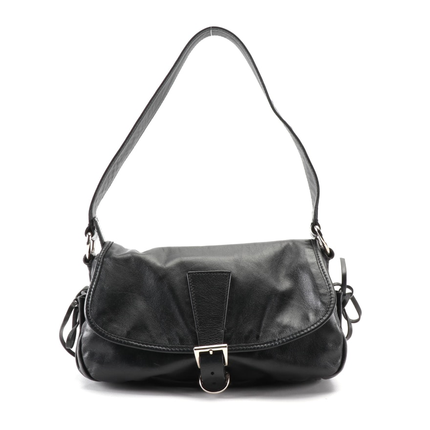 Prada Bow Soft Shoulder Bag in Black Nappa Leather