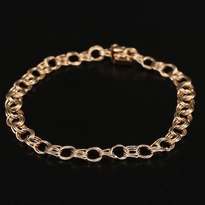 14K Double Rolo Link Chain Bracelet