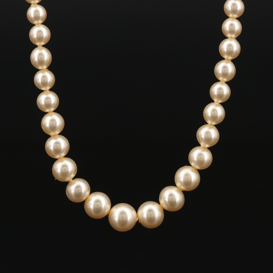 Vintage Imitation Pearl Graduated Strand Necklace with 10K Clasp