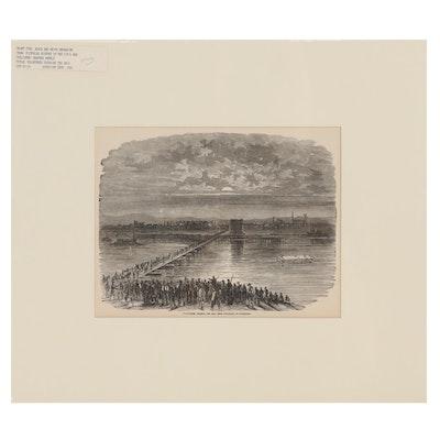 "Wood Engraving ""Volunteers Crossing the Ohio"", Late 19th Century"