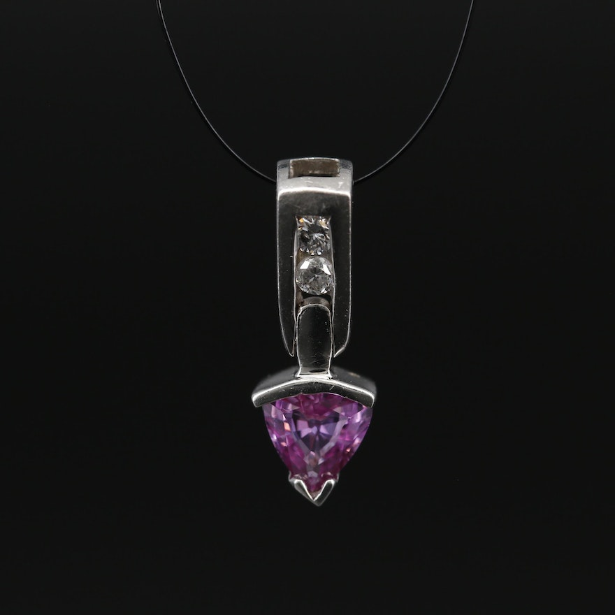14K White Gold, Pink Sapphire and Diamond Pendant