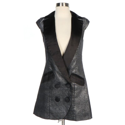 Mieko Mellucci Black Satin and Metallic Vest