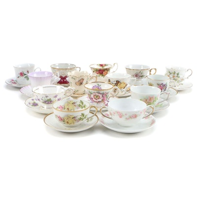 Continental Bone China and Porcelain Teacups and Saucers