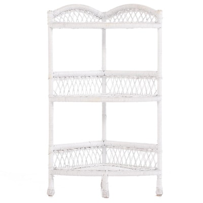 White-Painted Wicker Three-Tier Corner Stand