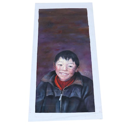 Chinese Child Portrait Oil Painting, 2009