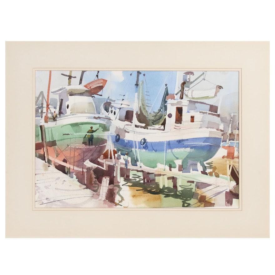 Tom Hill Harbor Scene Watercolor Painting of Gloucester, Massachusetts
