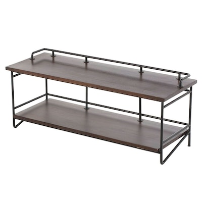 CB2 Industrial Style Metal-Mounted and Stained Wood Two-Tier Media Console