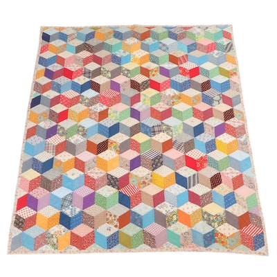 Homemade Cube Patchwork Quilt for Twin Bed