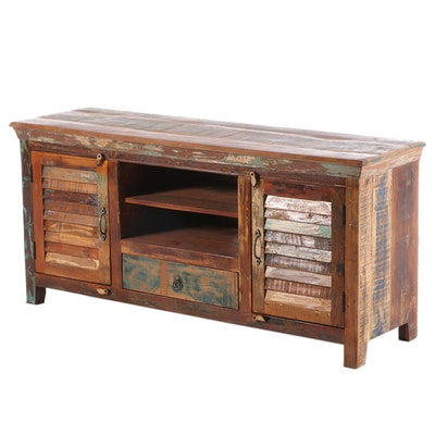 Primitive Style Painted Wood Media Console