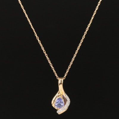 10K Tanzanite and Diamond Pendant Necklace