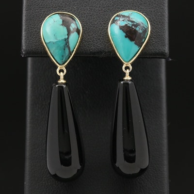 Sterling Silver Black Onyx and Turquoise Drop Earrings