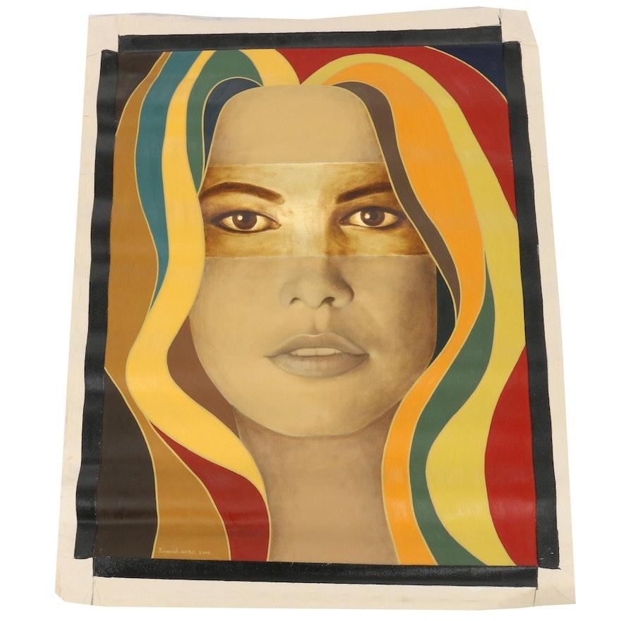"Farnoosh Lanjani Oil Painting with Gold Leaf ""Visage VII"", 2006"