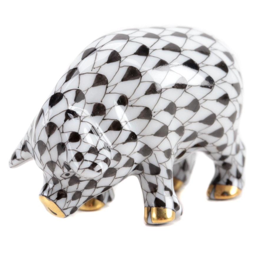 "Herend Black Fishnet with Gold ""Miniature Pig"" Porcelain Figurine"