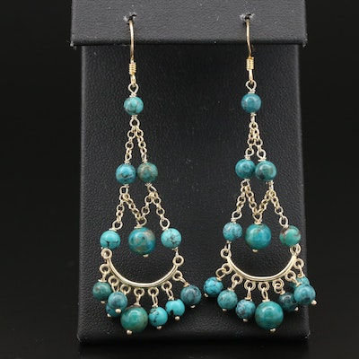 Sterling Silver Turquoise Chandelier Earrings