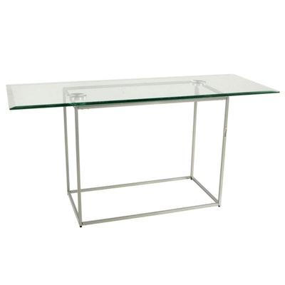 West Elm Metal Side Table with Beveled Glass