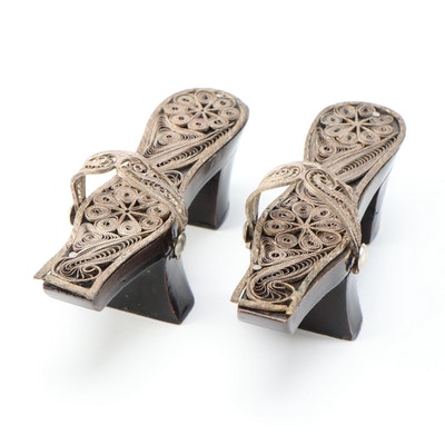 Decorative Replica Zōri Sandals with Scrolled Metal Work