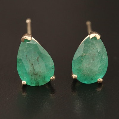 14K Gold Emerald Solitaire Stud Earrings